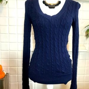 American Eagle Navy Cotton V-Neck Sweater